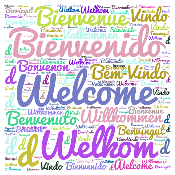 A colorful wordcloud with the word welcome in different languages